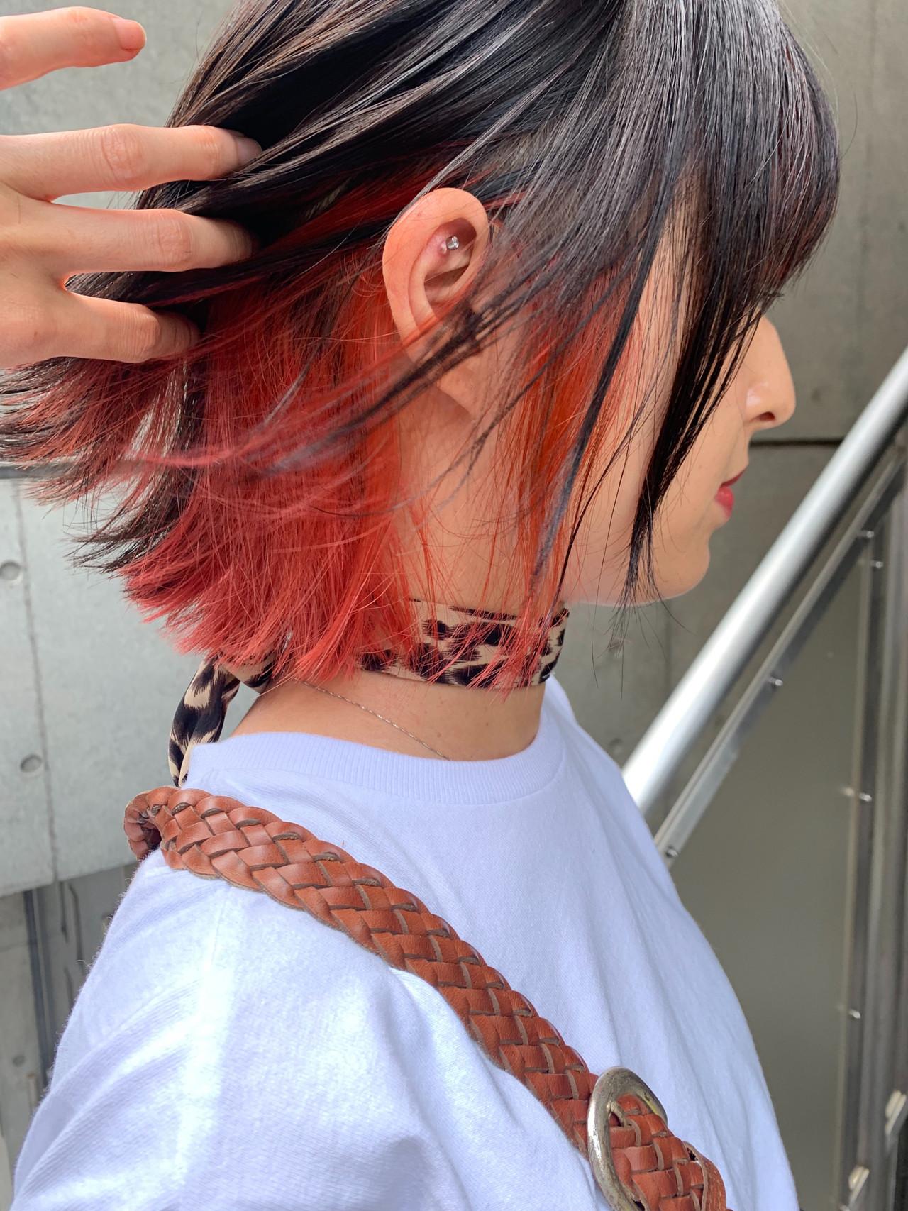 ショートヘア ショートボブ インナーカラー ボブ ヘアスタイルや髪型の写真・画像