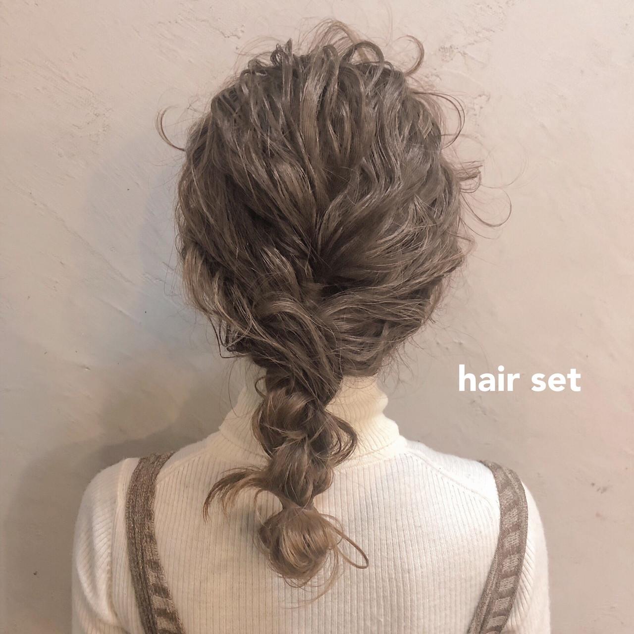 編みおろし ヘアアレンジ 簡単ヘアアレンジ アンニュイほつれヘア ヘアスタイルや髪型の写真・画像