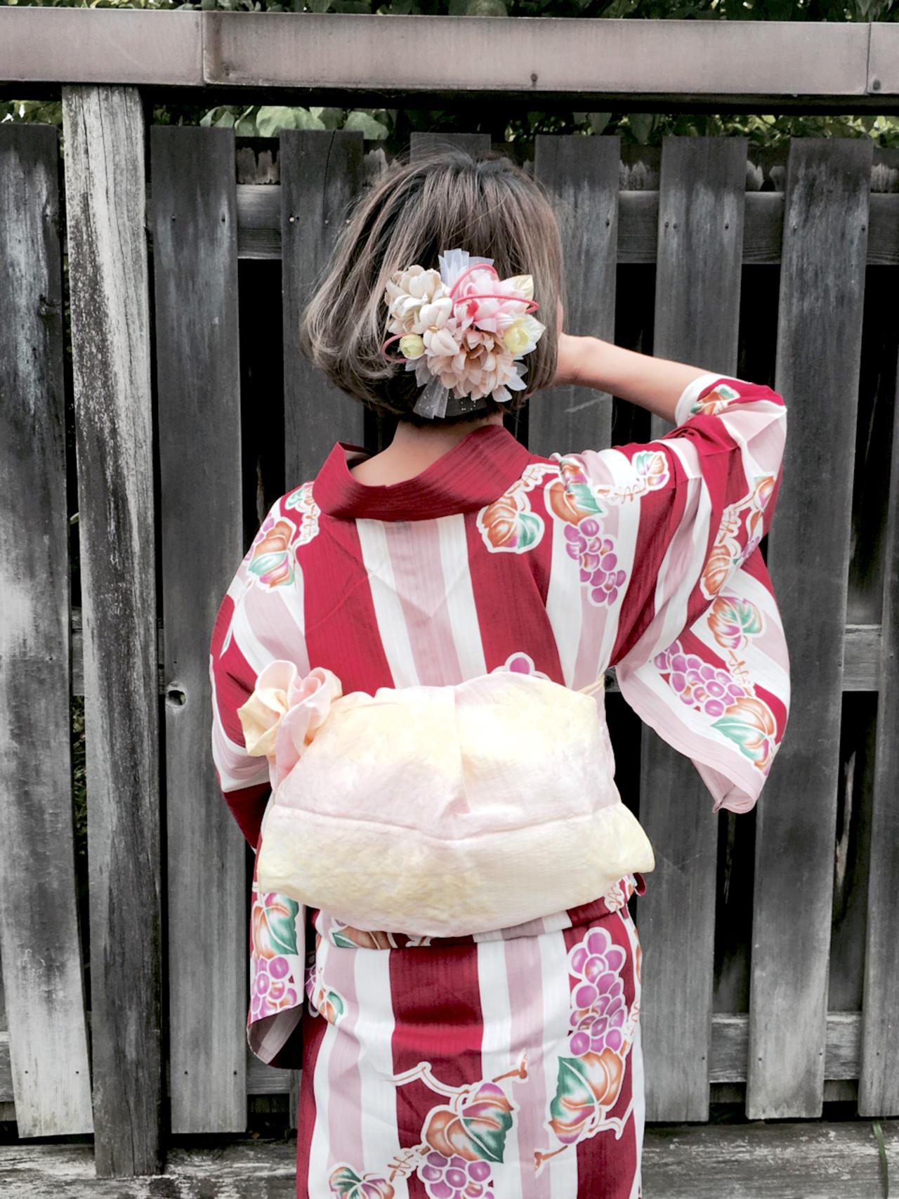 ヘアアレンジ ボブ 和装 お祭り ヘアスタイルや髪型の写真・画像 | さとみ / e'clat