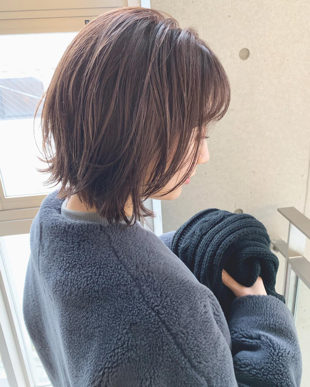 切りっぱなしボブ ボブ ミニボブ 暗髪 ヘアスタイルや髪型の写真・画像 | 前髪・後れ毛・顔周りこだわり◎ 北野愛 / Agnos 青山
