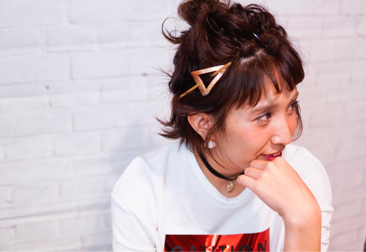 簡単ヘアアレンジ ボブ ショート マジェステ ヘアスタイルや髪型の写真・画像