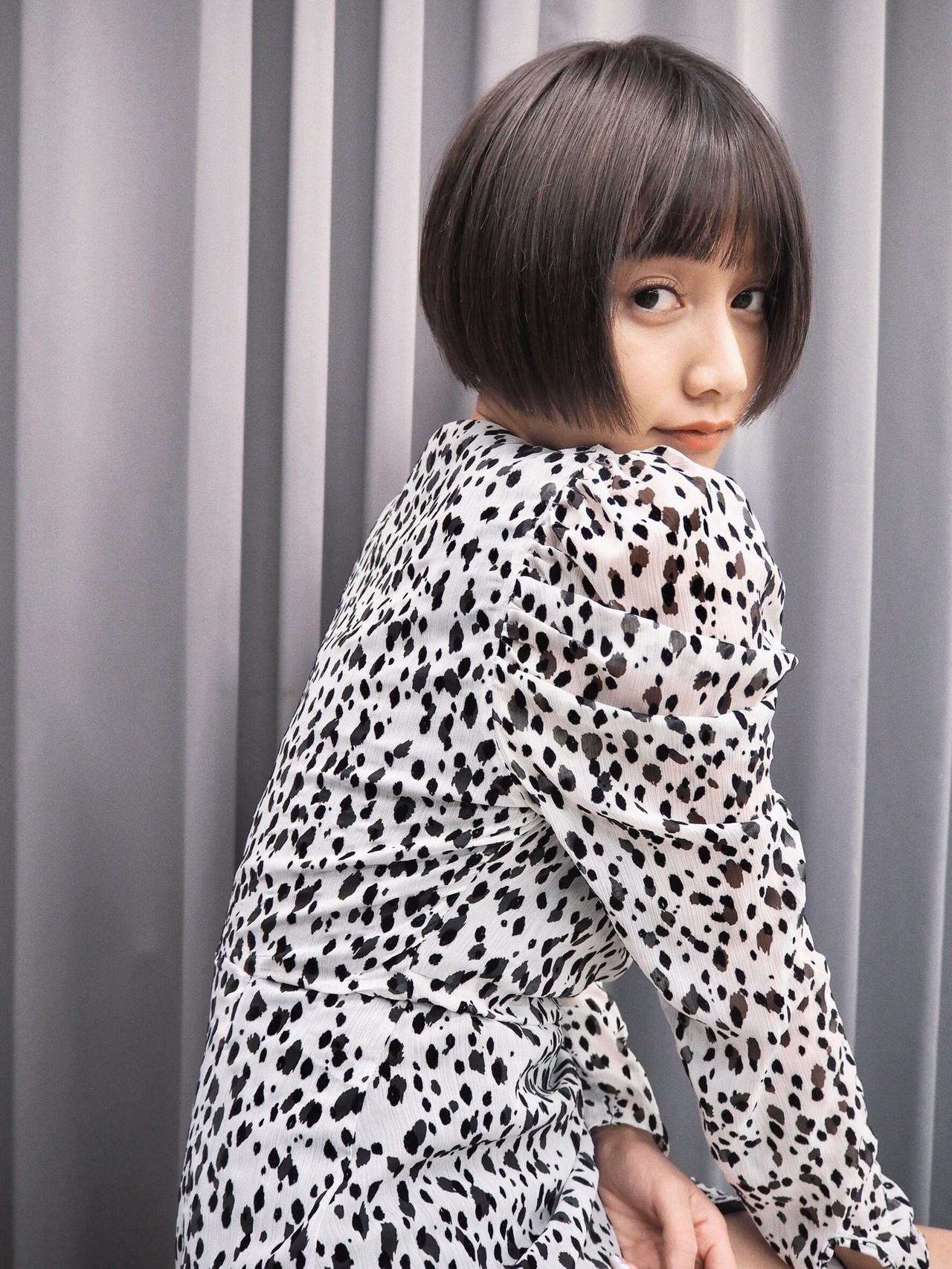 ショートボブ モード オン眉ボブ ショート ヘアスタイルや髪型の写真・画像 | koki / LAND