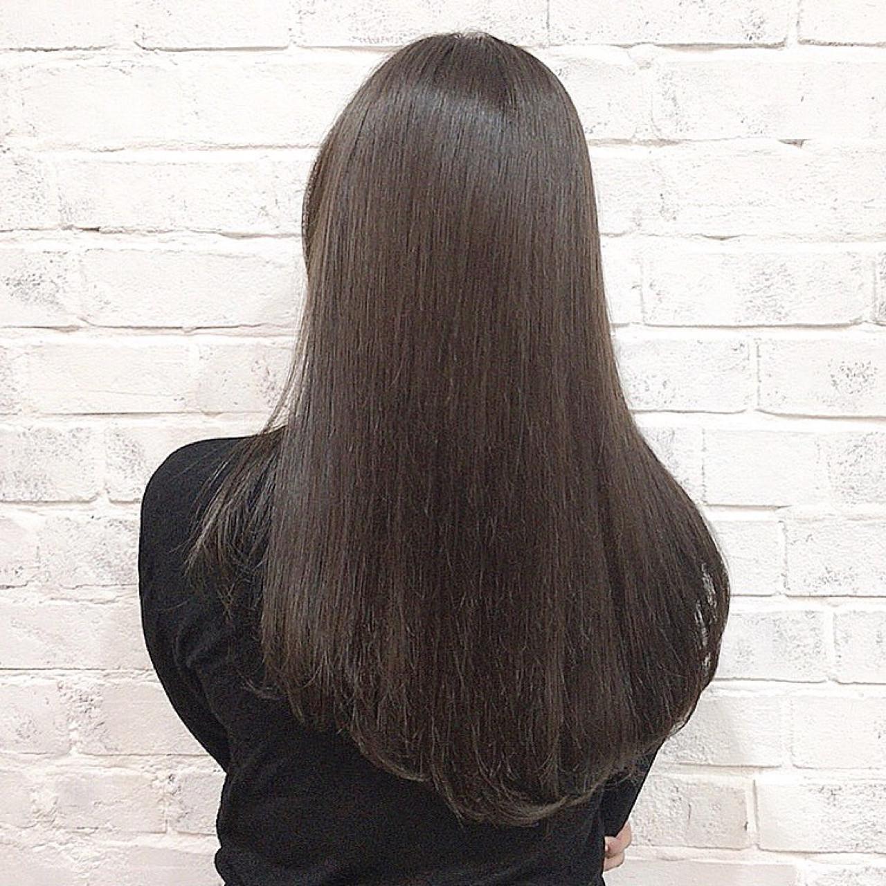 ブラウン 艶髪 トリートメント ナチュラル ヘアスタイルや髪型の写真・画像