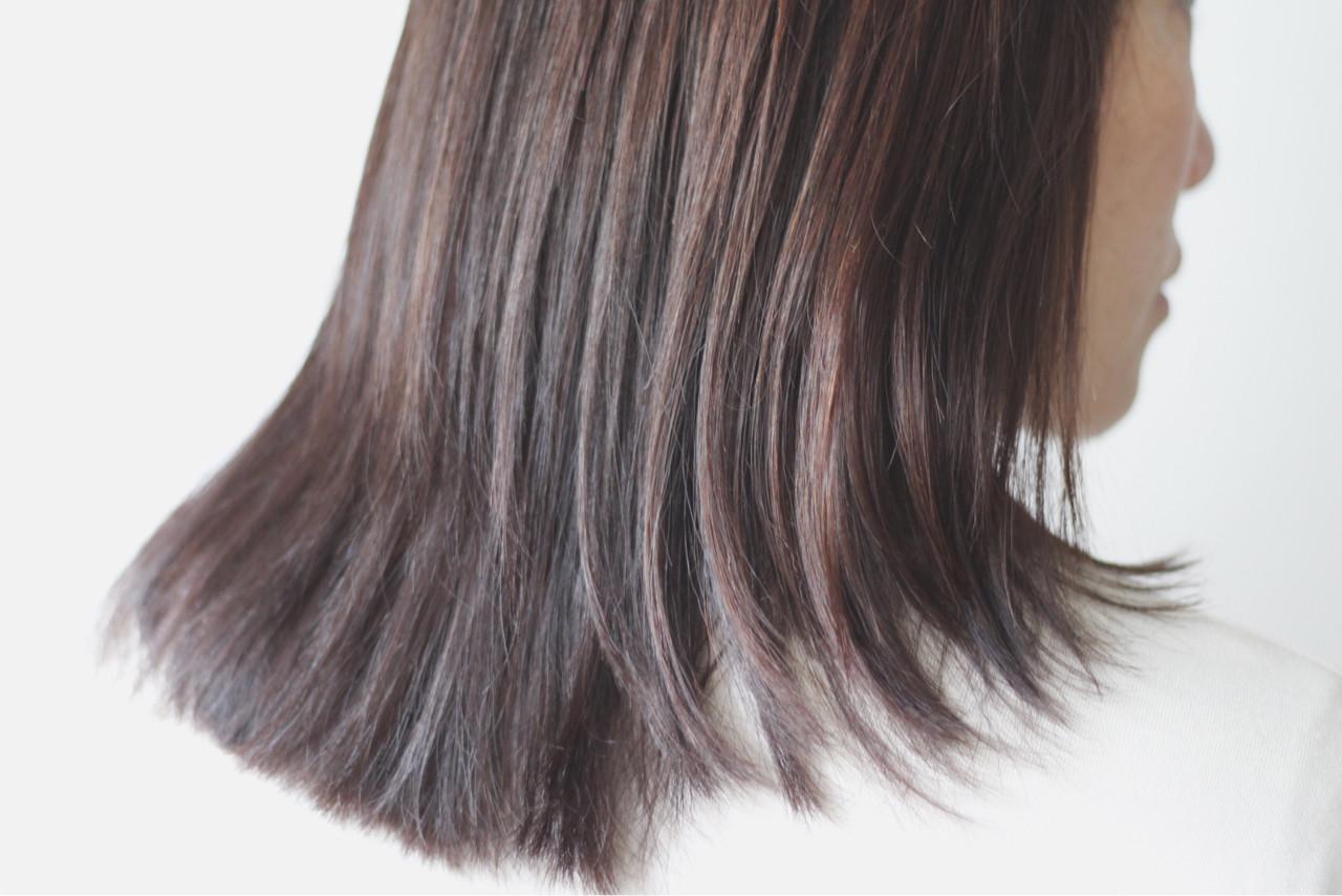 セミロング 冬 ショコラブラウン 外国人風 ヘアスタイルや髪型の写真・画像
