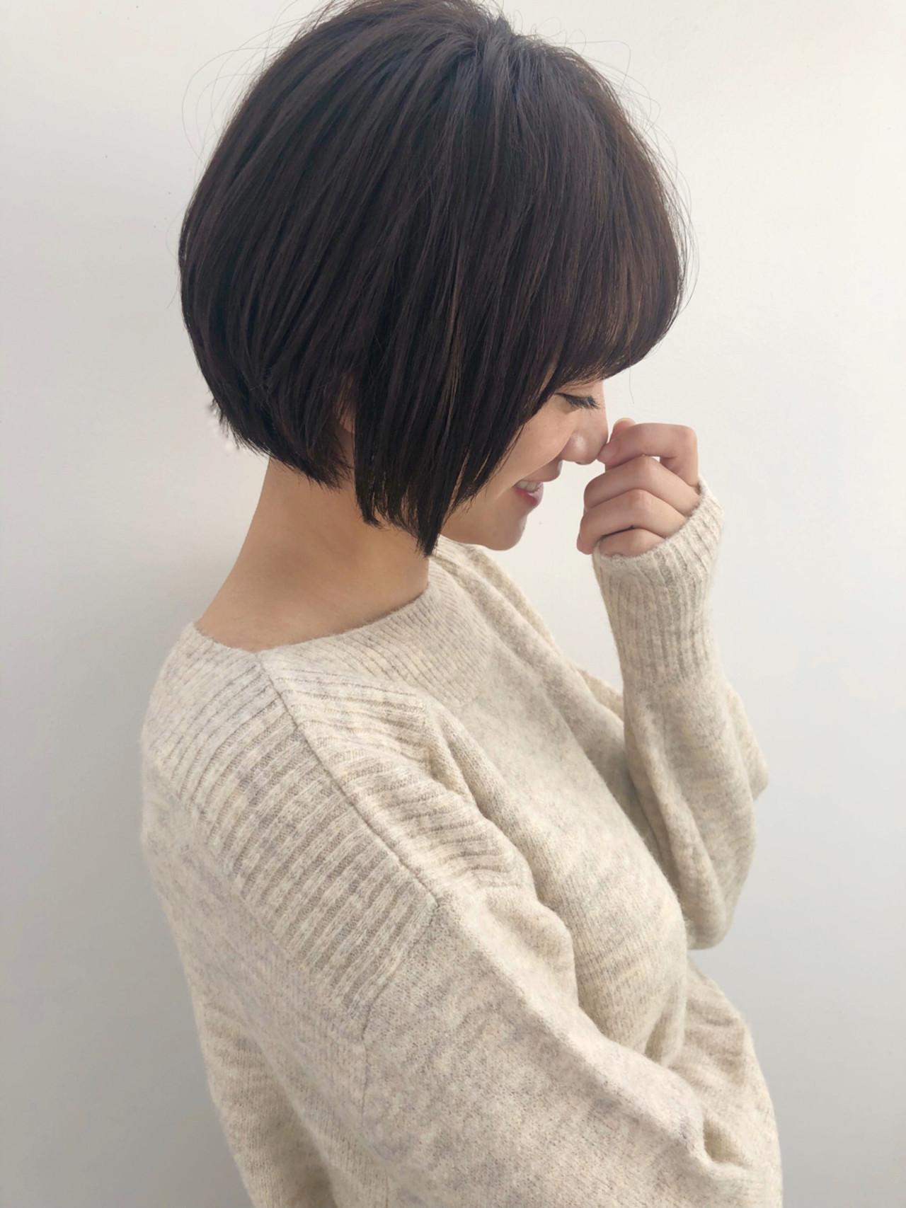 似合わせ ショート ショートボブ ナチュラル ヘアスタイルや髪型の写真・画像 | 富永大樹【小顔ショート】【小顔ミディアム】 / Unami