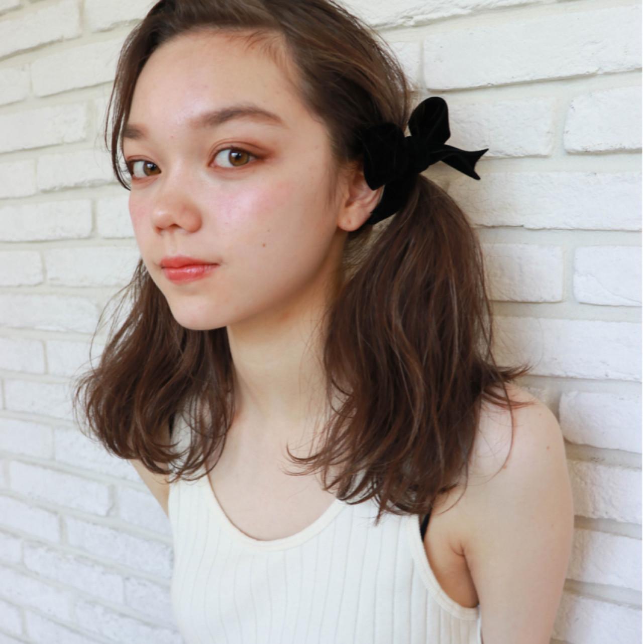 デート 女子会 リラックス ツインテール ヘアスタイルや髪型の写真・画像
