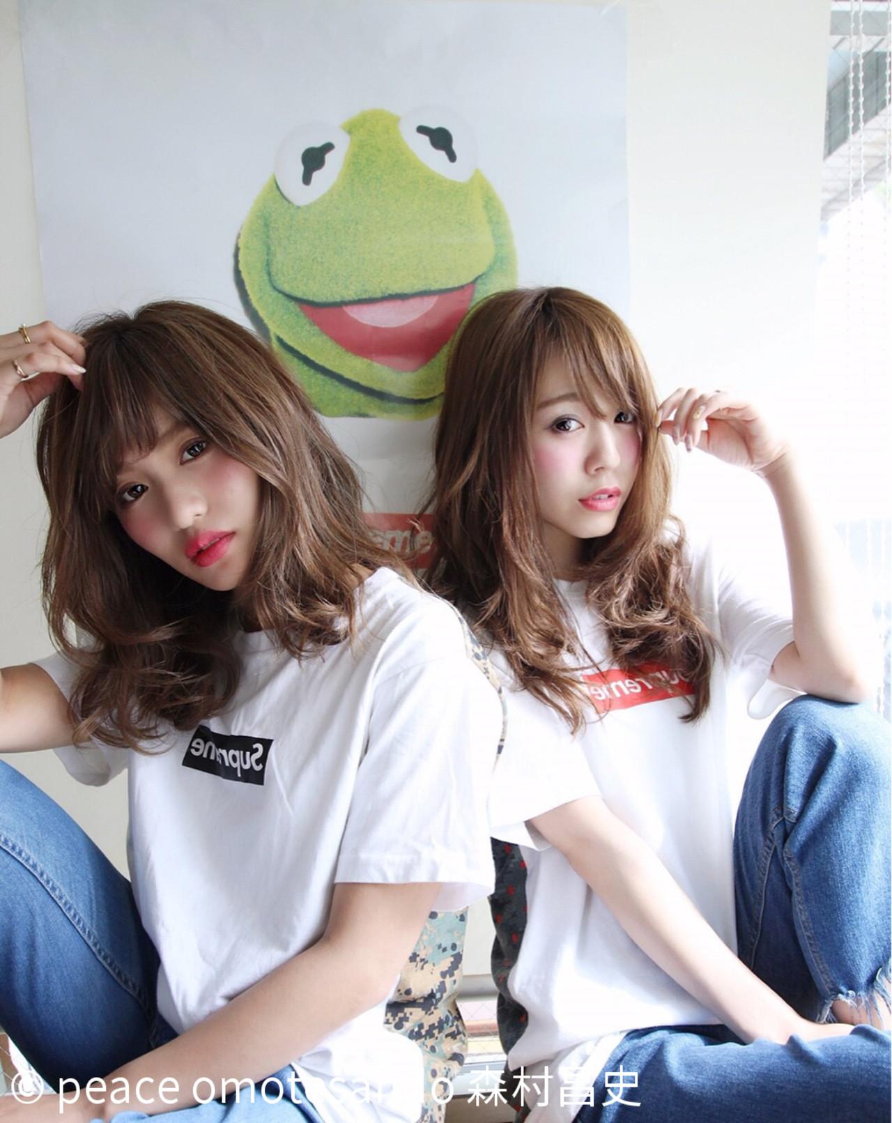 ミディアム シースルーバング ひし形 美シルエット ヘアスタイルや髪型の写真・画像