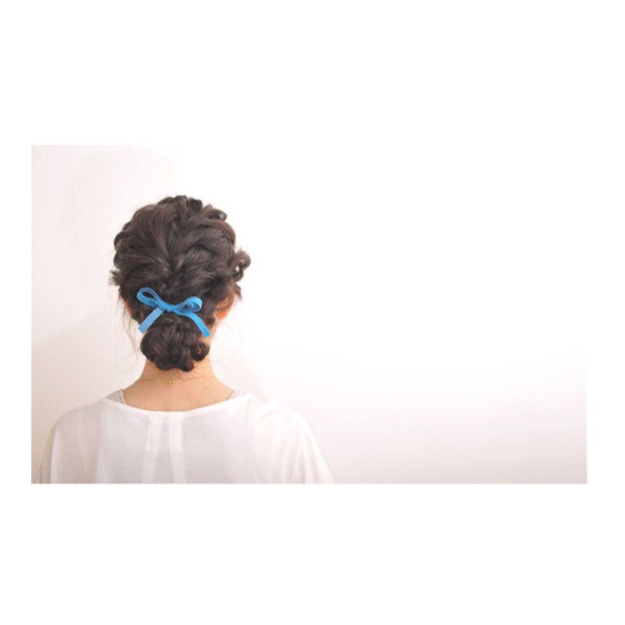 ヘアアレンジ ナチュラル ロープ編み シニヨン ヘアスタイルや髪型の写真・画像