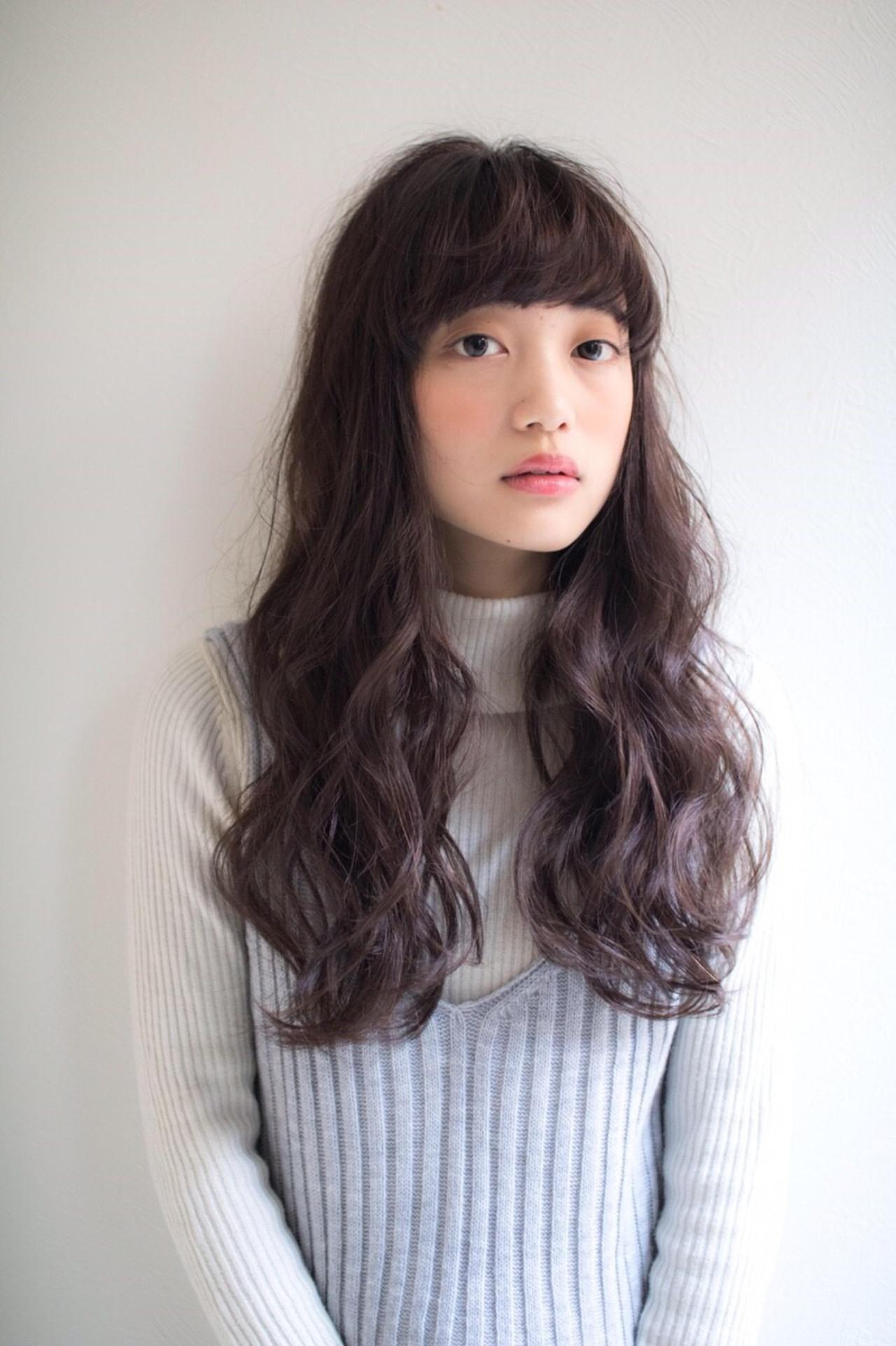 ロング 大人かわいい ガーリー 前髪あり ヘアスタイルや髪型の写真・画像