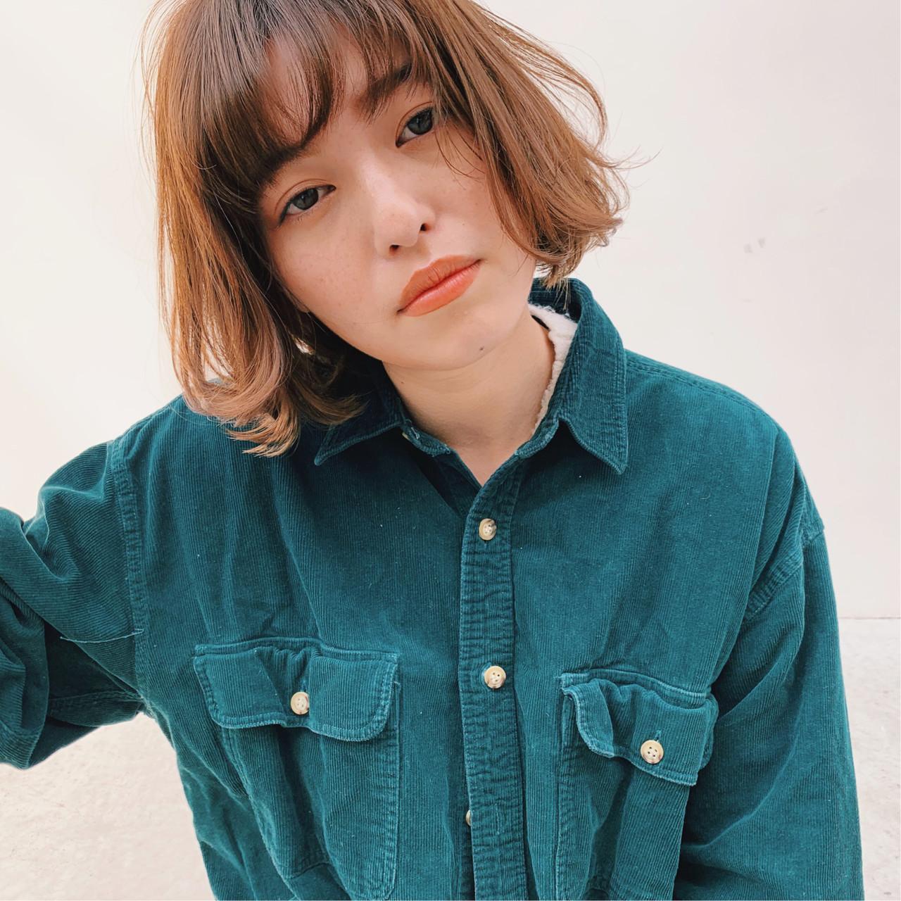 透け感ヘア アンニュイほつれヘア ボブ パーマ ヘアスタイルや髪型の写真・画像