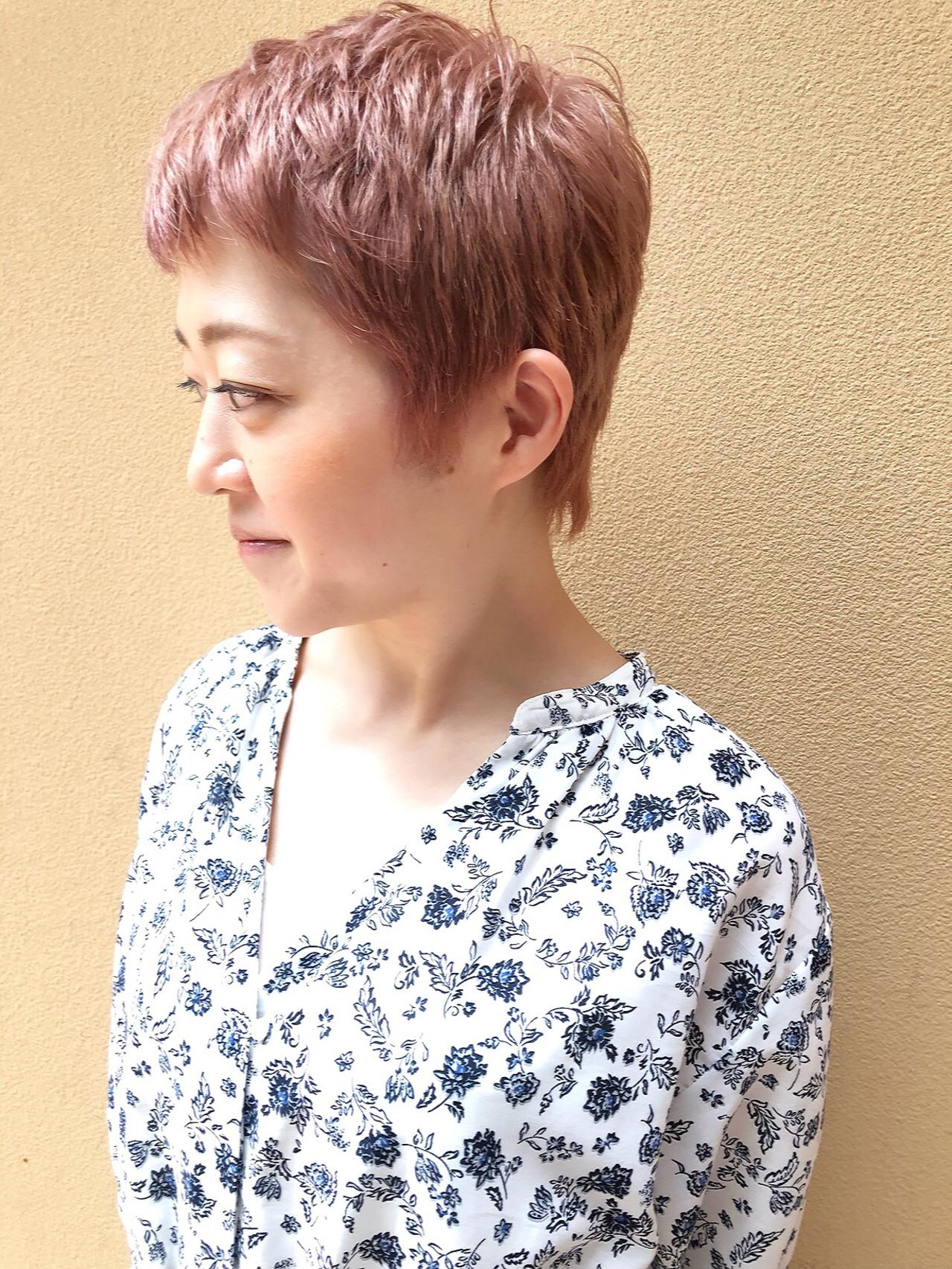 ピンクベージュ 可愛い ピンク ベリーショート ヘアスタイルや髪型の写真・画像