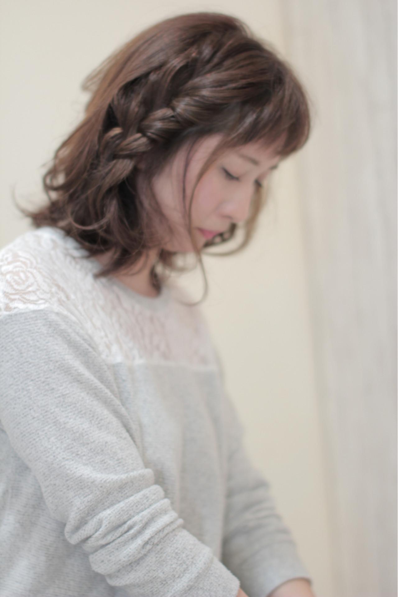 ナチュラル アッシュ 三つ編み ヘアアレンジ ヘアスタイルや髪型の写真・画像 | 中村 猛 / MODE K's 塚本店 (モードケイズ)