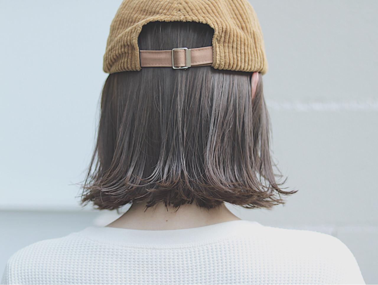オルチャン ボブ ナチュラル 切りっぱなし ヘアスタイルや髪型の写真・画像
