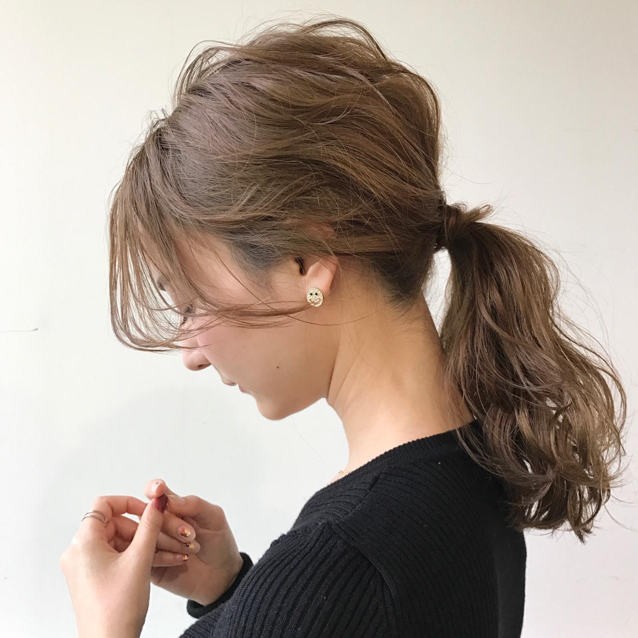 ナチュラル デート ミディアム 簡単ヘアアレンジ ヘアスタイルや髪型の写真・画像