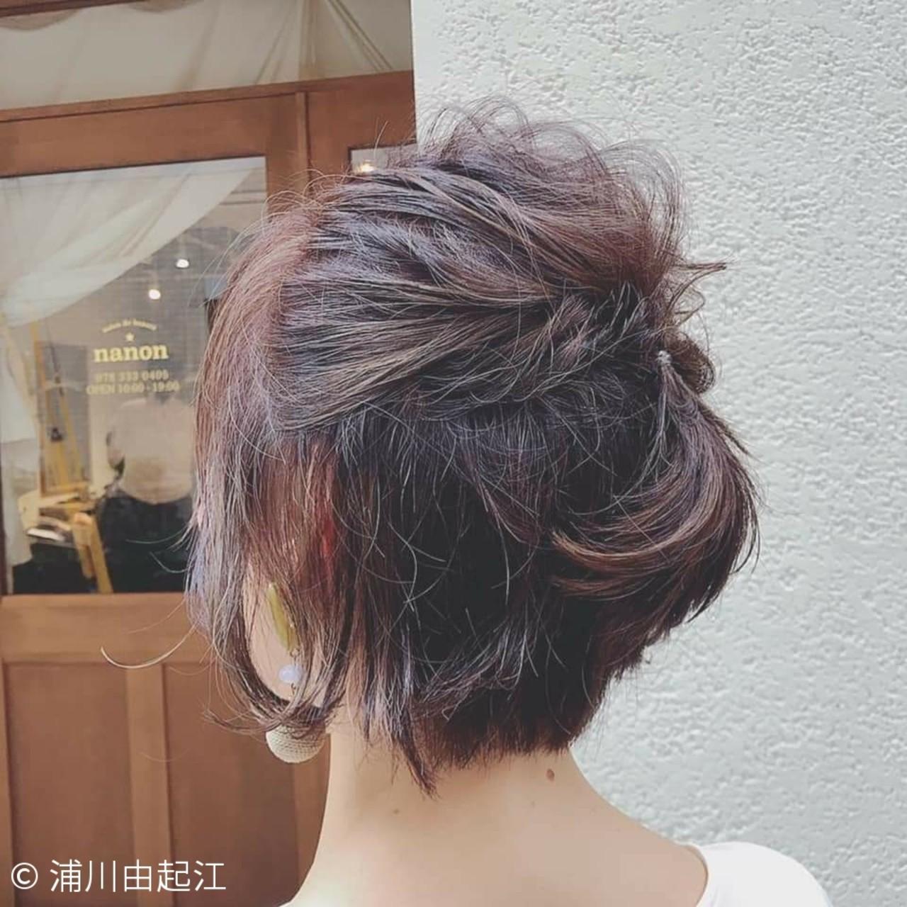 デート ナチュラル ボブ 切りっぱなしボブ ヘアスタイルや髪型の写真・画像 | 浦川由起江 / nanon