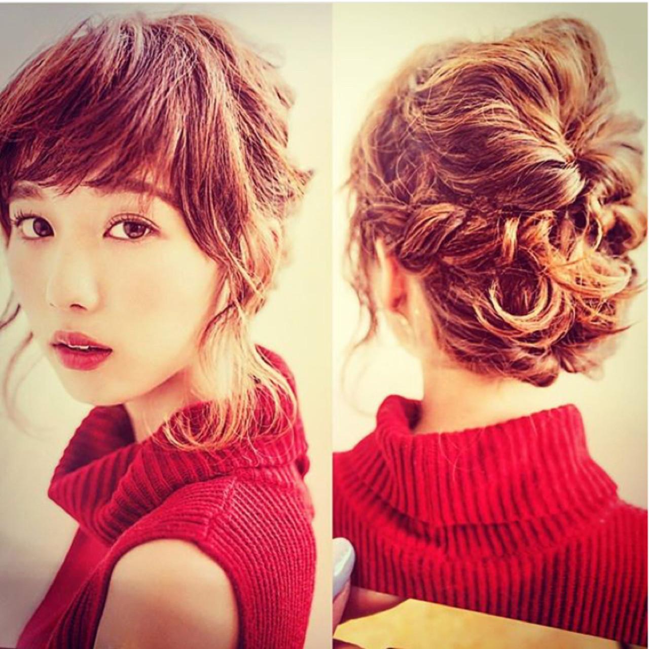 ヘアアレンジ ゆるふわ 簡単ヘアアレンジ ミディアム ヘアスタイルや髪型の写真・画像