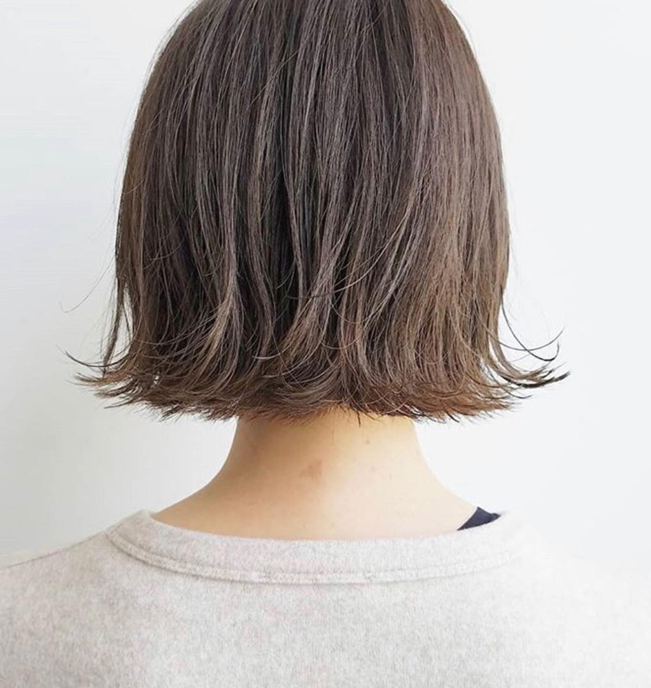 ミルクティーベージュ ミルクティーアッシュ ボブ ミルクティーグレージュ ヘアスタイルや髪型の写真・画像