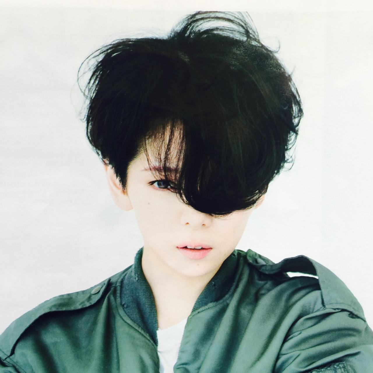 黒髪 暗髪 前髪あり パーマ ヘアスタイルや髪型の写真・画像 | RISA /
