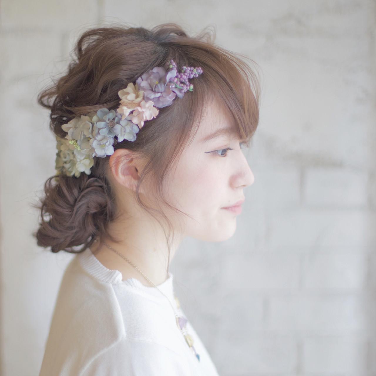 ヘアアレンジ ミディアム 花嫁 結婚式 ヘアスタイルや髪型の写真・画像