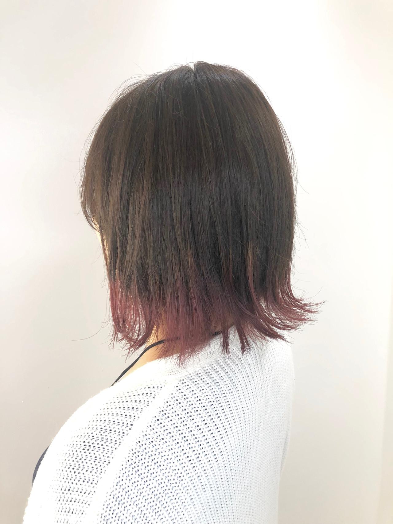 イルミナカラー ボブ 裾カラー 艶カラー ヘアスタイルや髪型の写真・画像