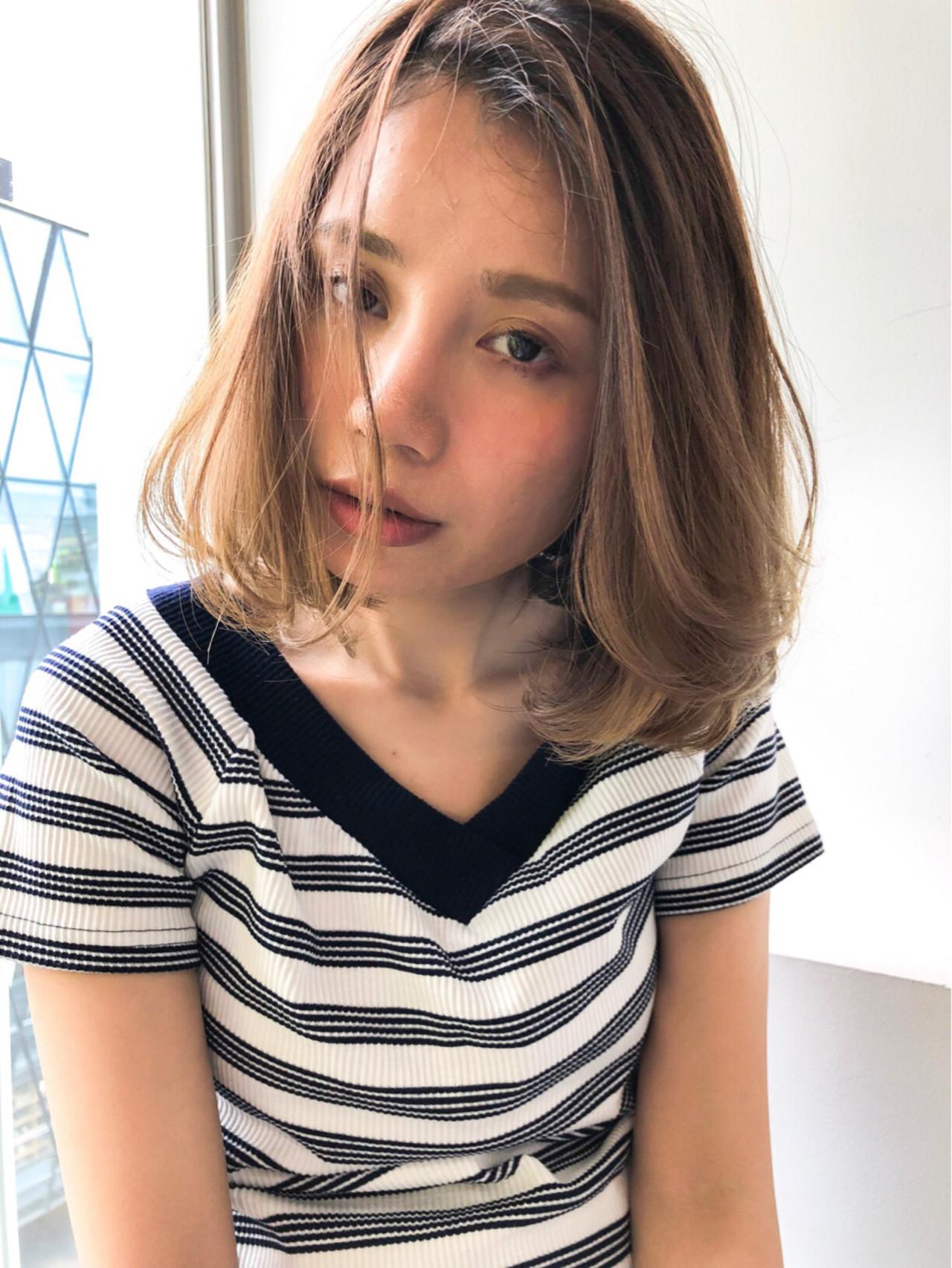大人かわいい 大人女子 ミディアム ナチュラル ヘアスタイルや髪型の写真・画像