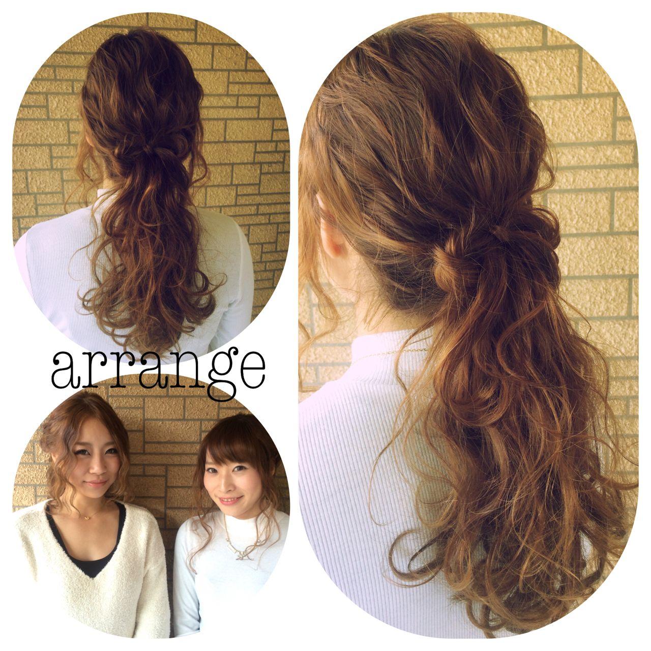 アップスタイル ヘアアレンジ ロング ストリート ヘアスタイルや髪型の写真・画像