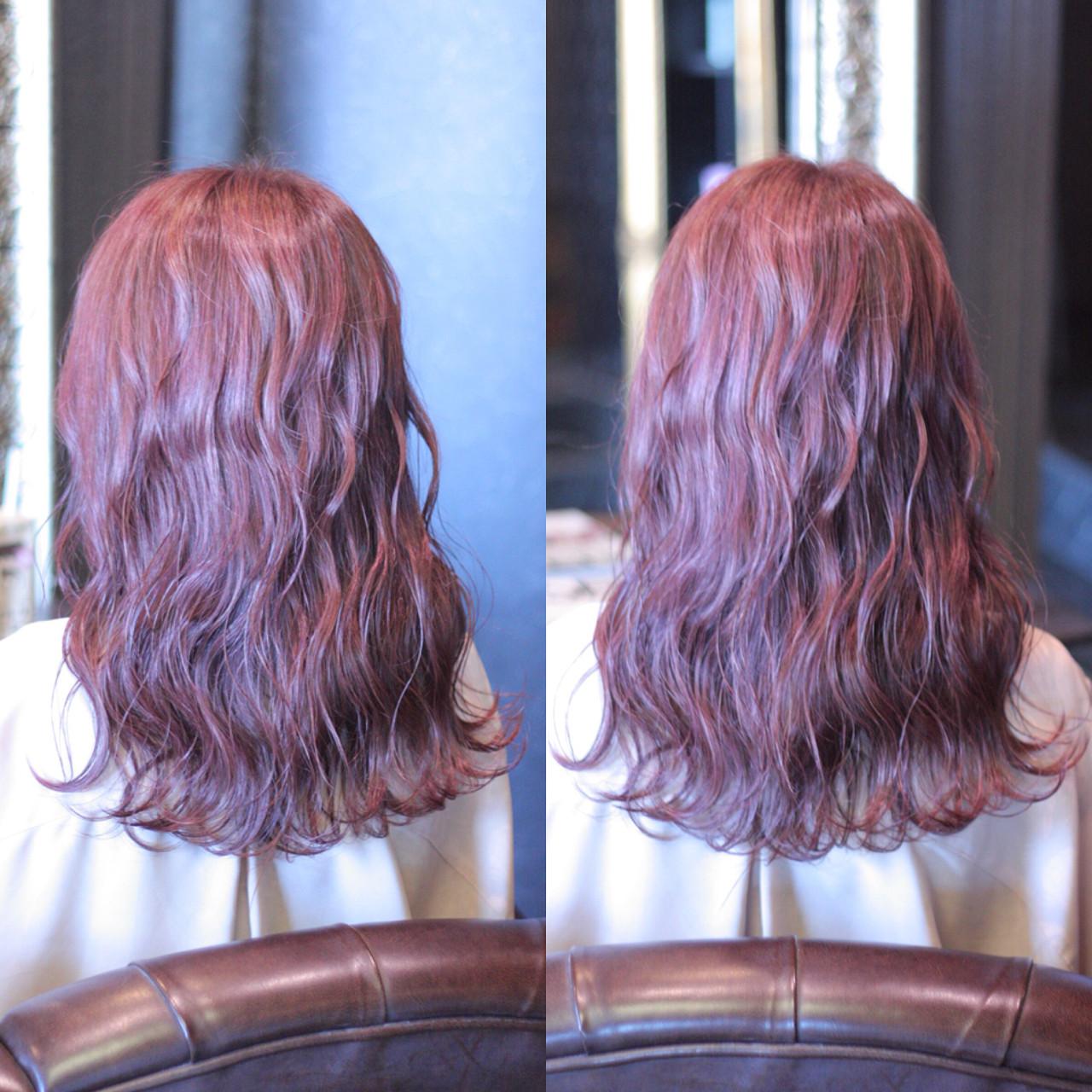 外国人風 レッド ゆるふわ 大人かわいい ヘアスタイルや髪型の写真・画像