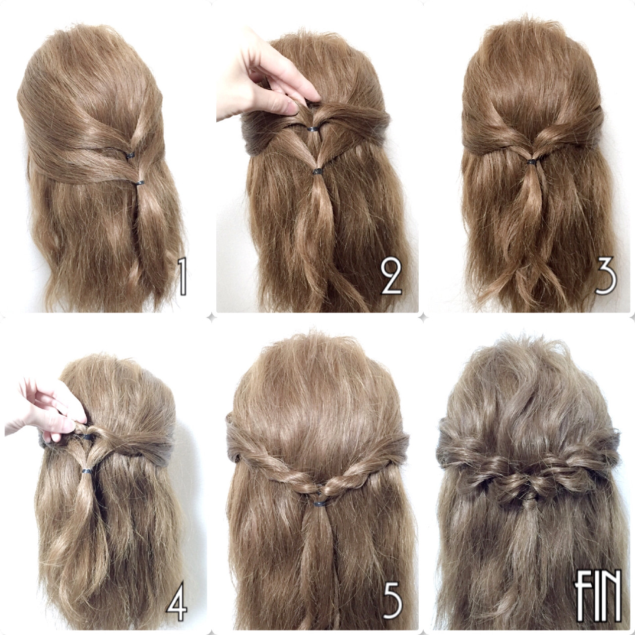 セミロング ショート 簡単ヘアアレンジ ロープ編み ヘアスタイルや髪型の写真・画像
