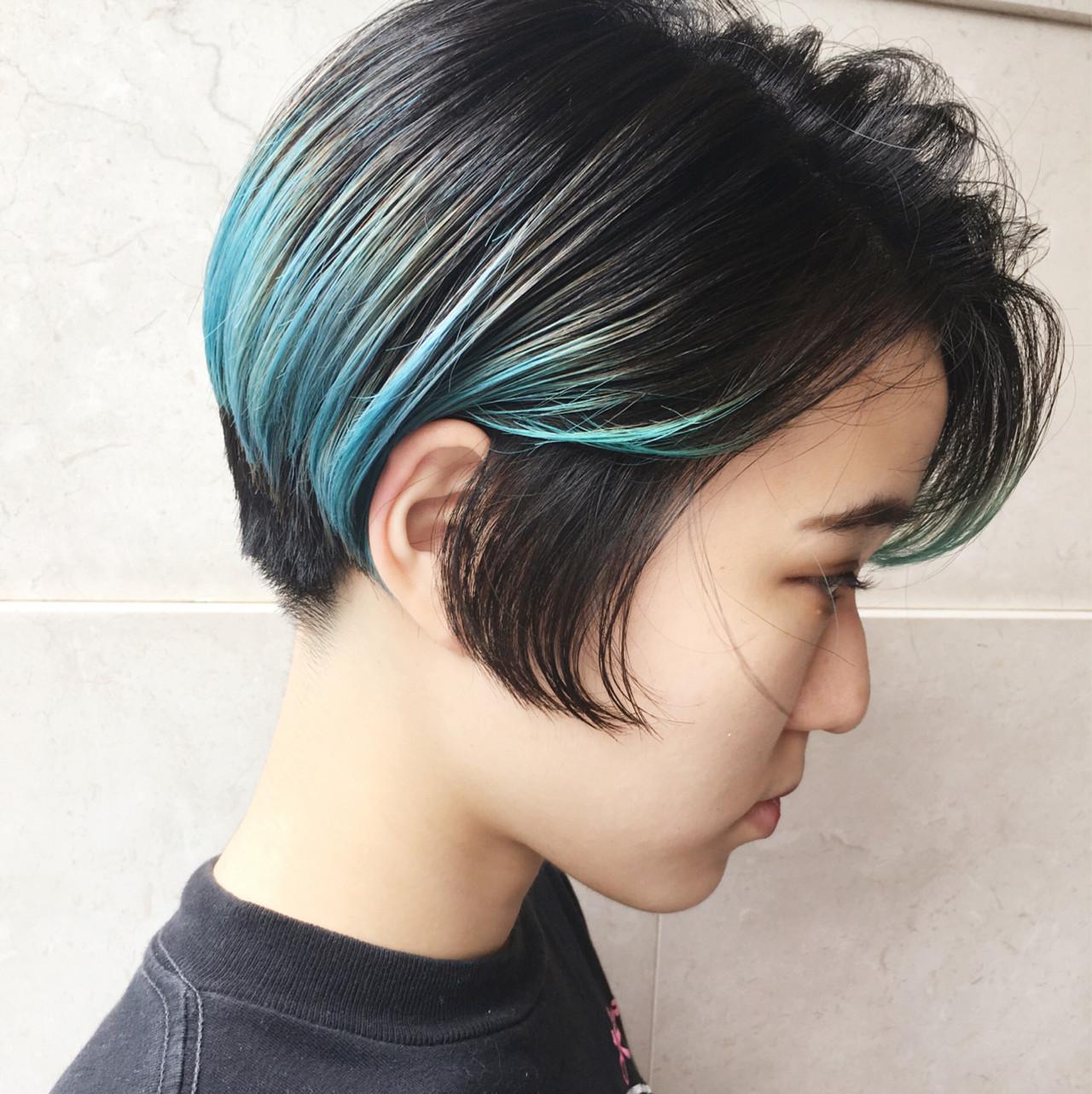 ショート ミント ストリート グリーン ヘアスタイルや髪型の写真・画像