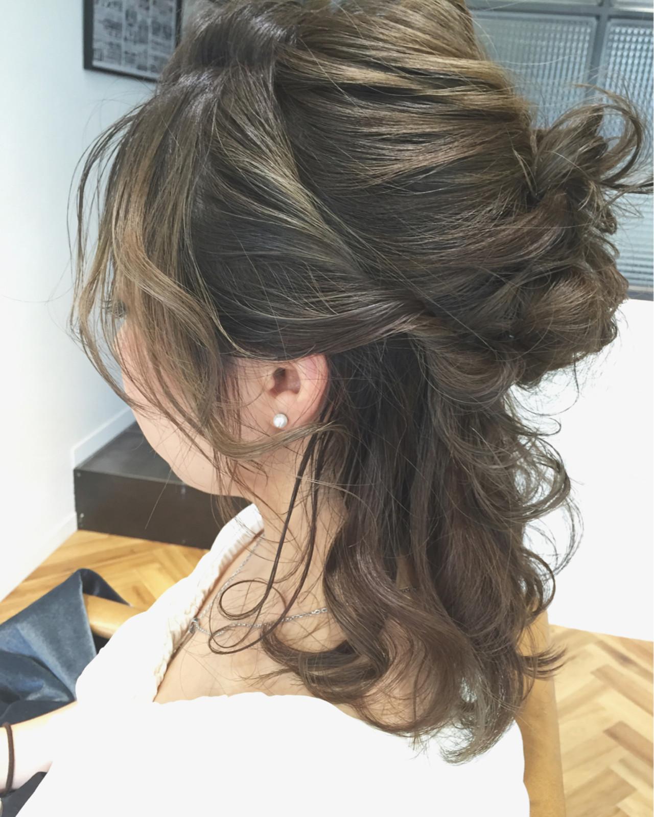 簡単ヘアアレンジ ヘアアレンジ ハーフアップ グラデーションカラー ヘアスタイルや髪型の写真・画像 | 佐々田 広大 / Chord【コード】