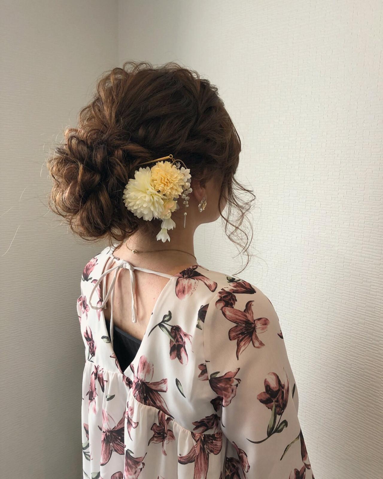 フェミニン 和装 アップスタイル ヘアアレンジ ヘアスタイルや髪型の写真・画像