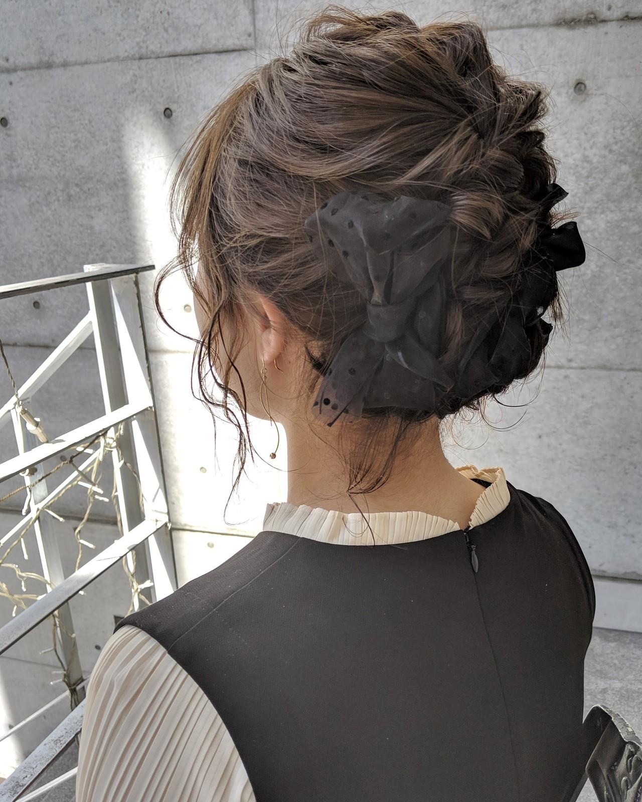 ガーリー 簡単ヘアアレンジ リボンアレンジ 結婚式 ヘアスタイルや髪型の写真・画像 | HIFUMI / möwen