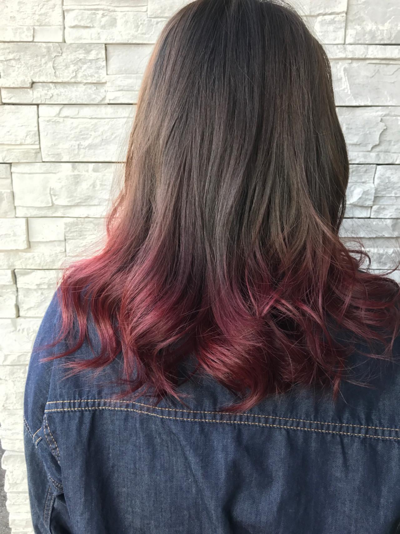 学校 ピンク ストリート グラデーションカラー ヘアスタイルや髪型の写真・画像