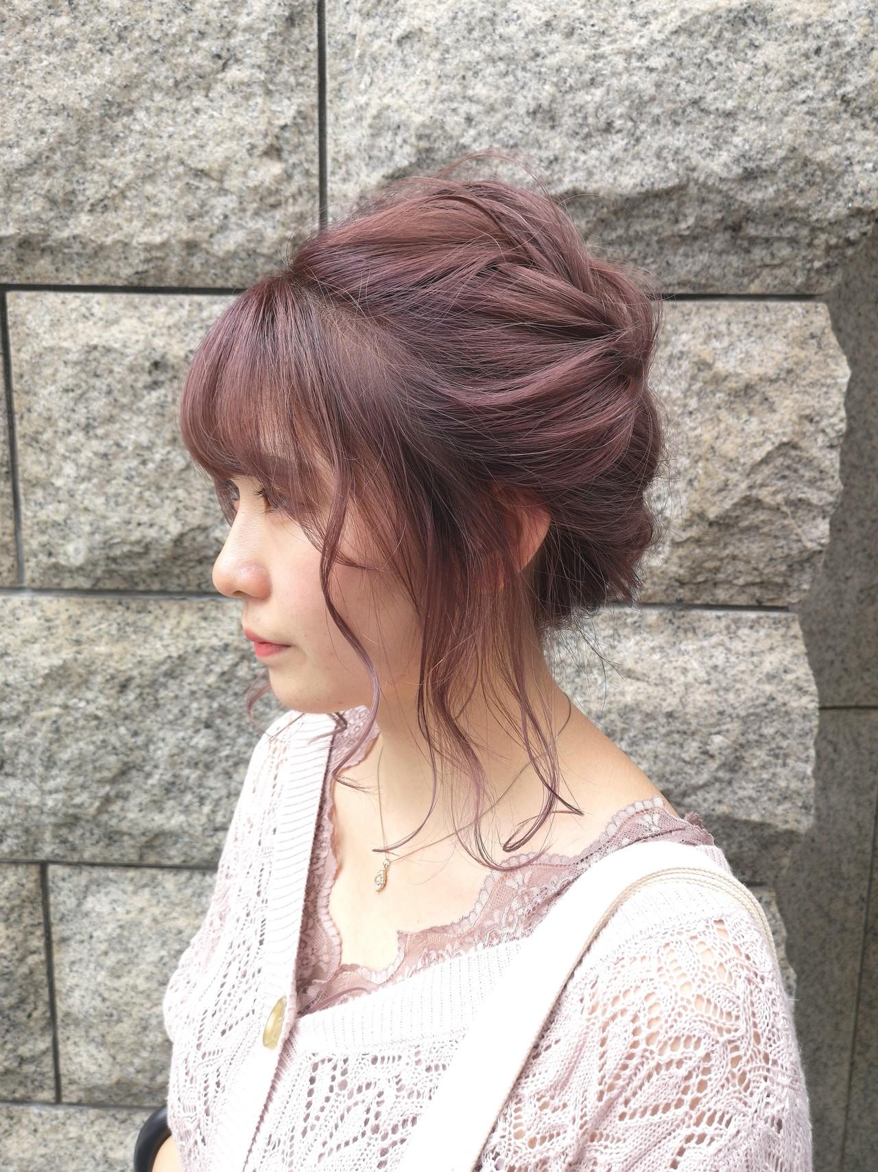 ヘアアレンジ ガーリー 簡単ヘアアレンジ ピンク ヘアスタイルや髪型の写真・画像