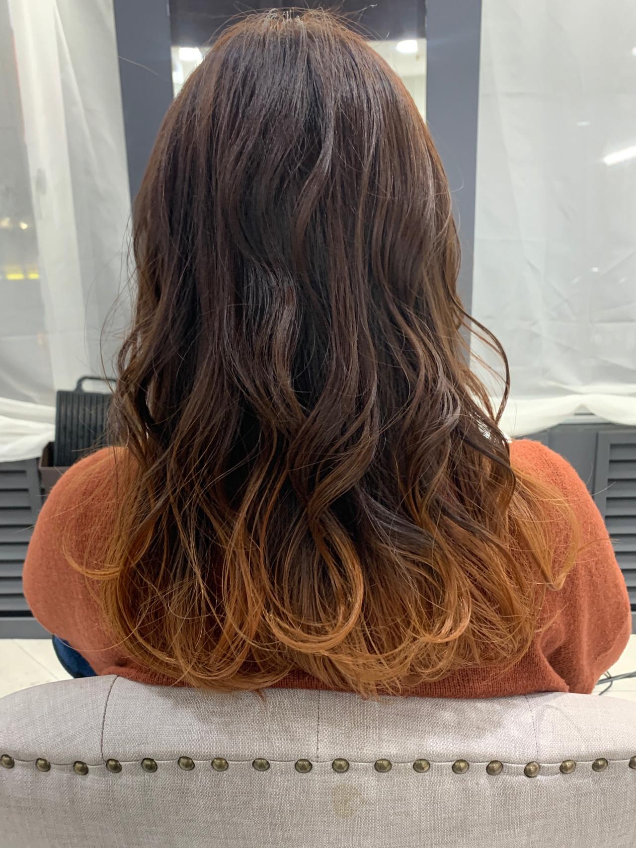 グラデーションカラー ゆるふわ オレンジ フェミニン ヘアスタイルや髪型の写真・画像