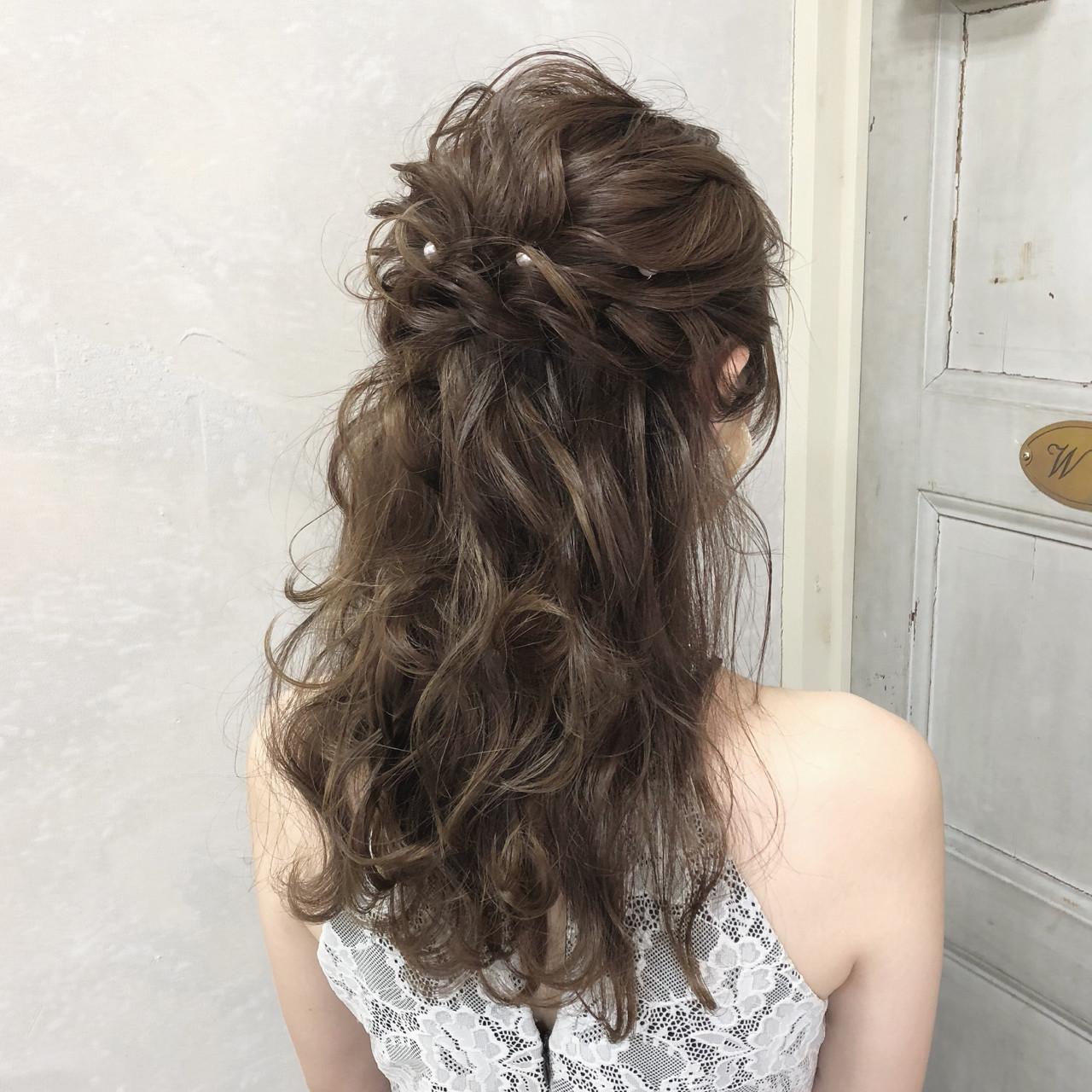 パーティ 結婚式 ヘアアレンジ セミロング ヘアスタイルや髪型の写真・画像