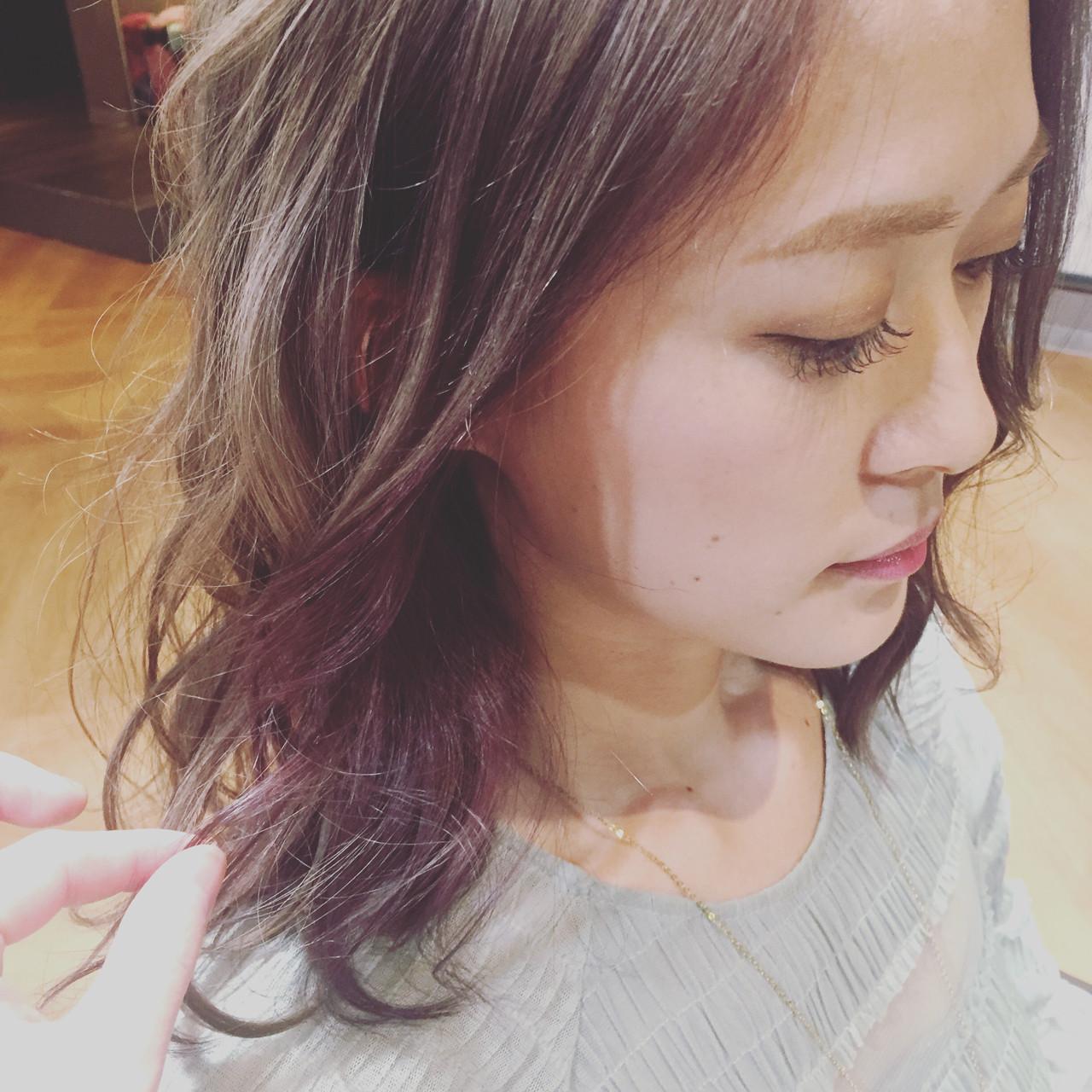 グレーアッシュ ベリーピンク イルミナカラー モード ヘアスタイルや髪型の写真・画像 | Bonheur / Bonheur西梅田店