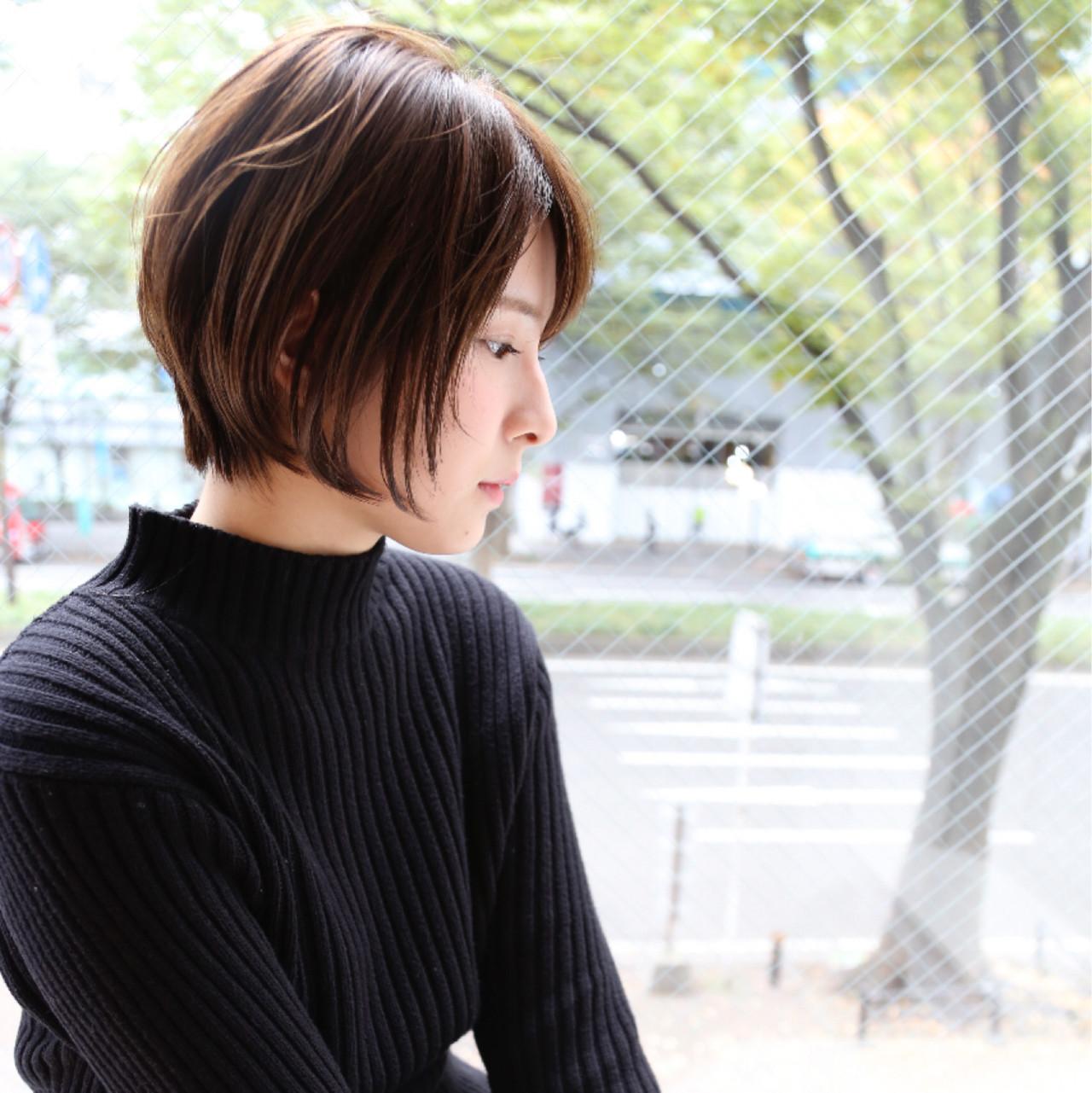 色気 ショートボブ 暗髪 ショート ヘアスタイルや髪型の写真・画像