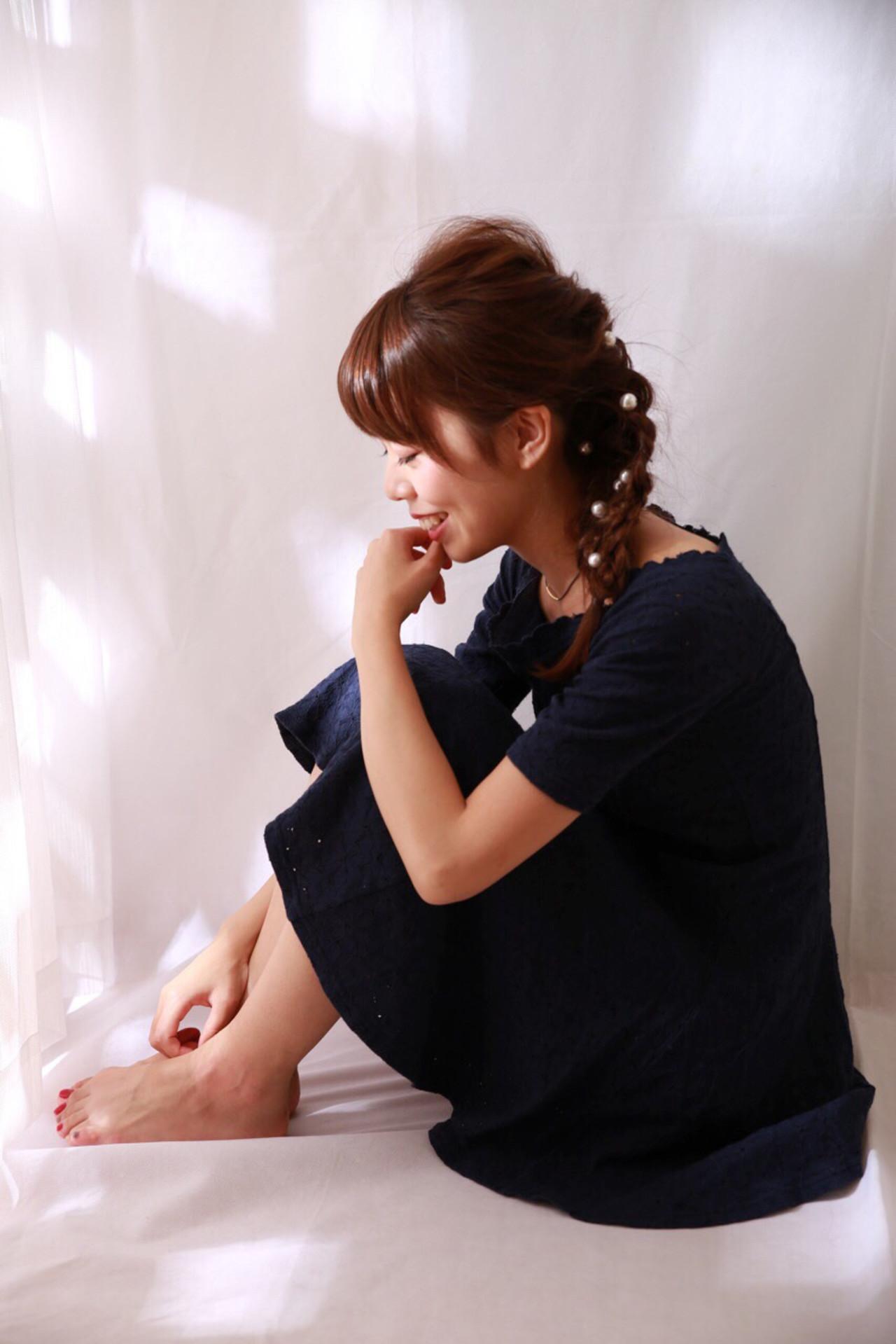 ガーリー パールアクセ ロング ヘアピン ヘアスタイルや髪型の写真・画像 | きりん /