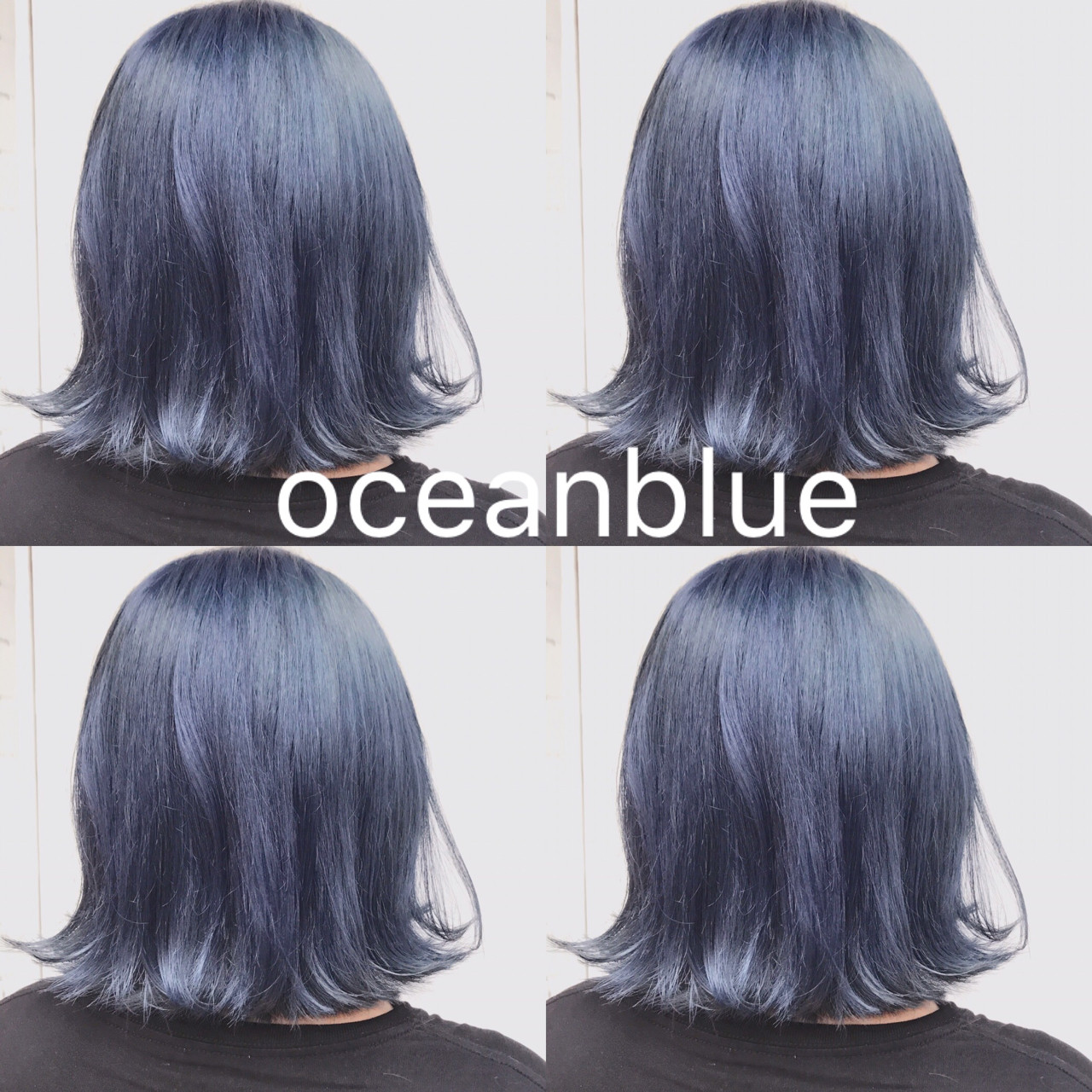 個性的 モード ボブ ブルー ヘアスタイルや髪型の写真・画像