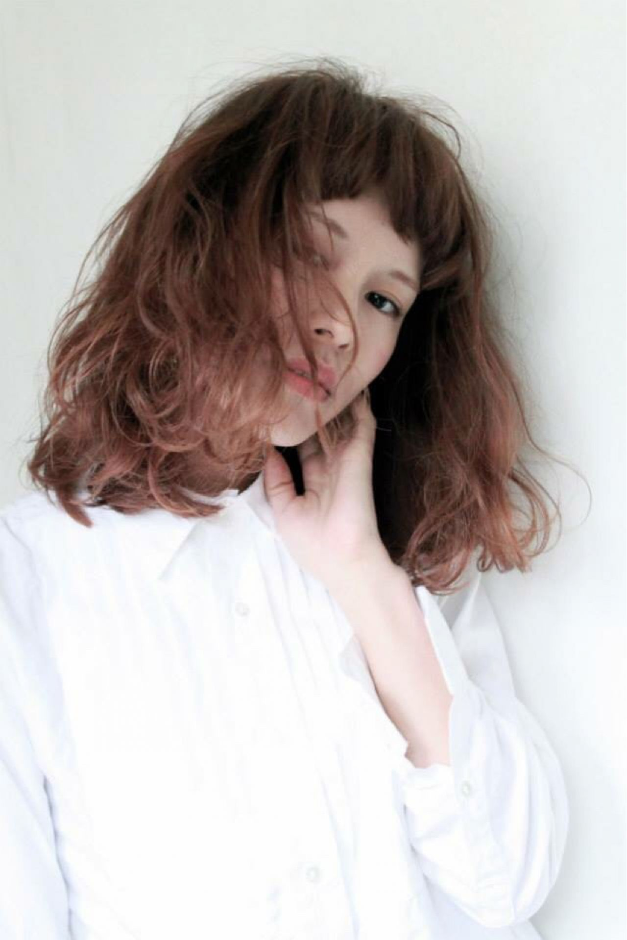 セミロング ショートバング ロブ ゆるふわ ヘアスタイルや髪型の写真・画像