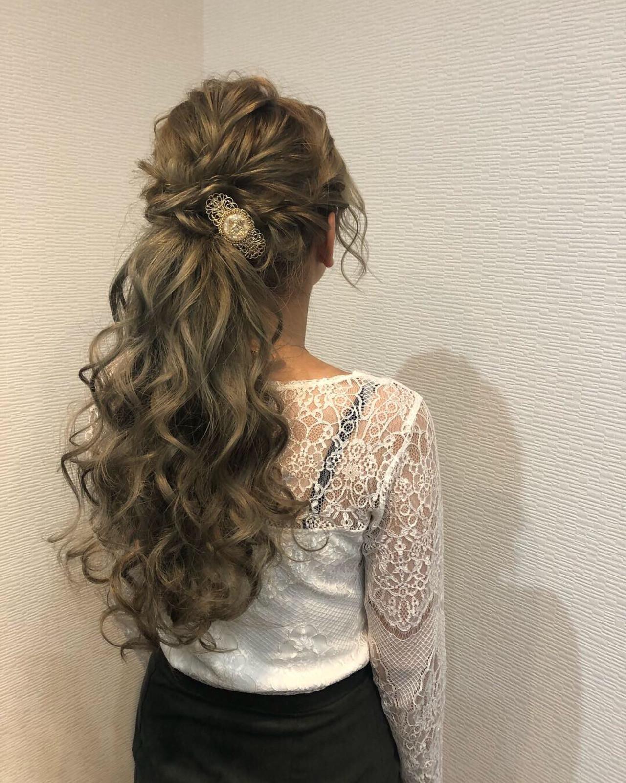 結婚式 ねじり ポニーテール ヘアアレンジ ヘアスタイルや髪型の写真・画像