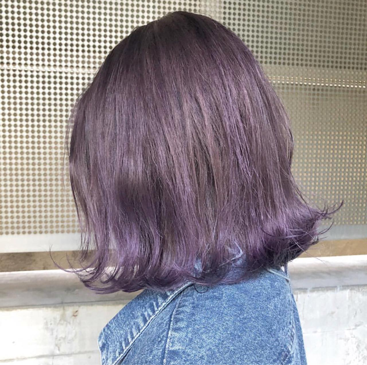 アッシュ 外国人風カラー ラベンダーアッシュ ボブ ヘアスタイルや髪型の写真・画像