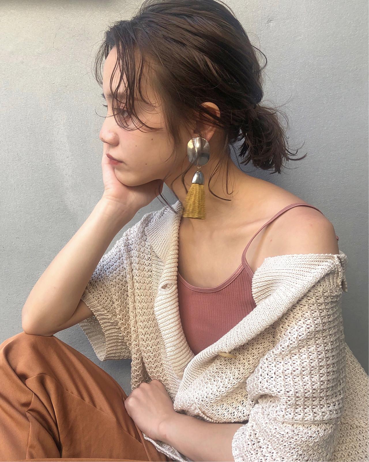 ガーリー 濡れ髪スタイル 簡単ヘアアレンジ 透明感カラー ヘアスタイルや髪型の写真・画像