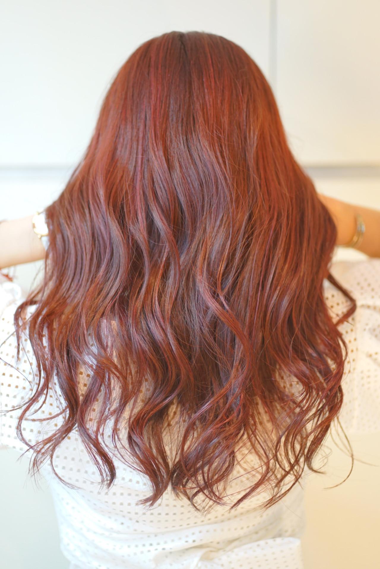 セミロング ガーリー 秋ブラウン ピンク ヘアスタイルや髪型の写真・画像
