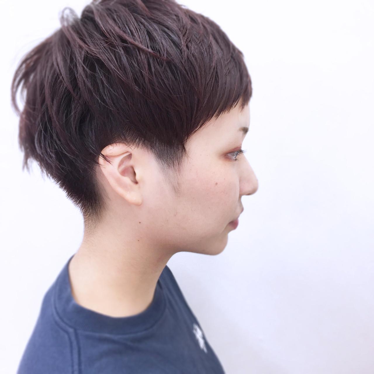 レッド 前髪あり ショート 大人かわいい ヘアスタイルや髪型の写真・画像   YSO / 電髪倶楽部street