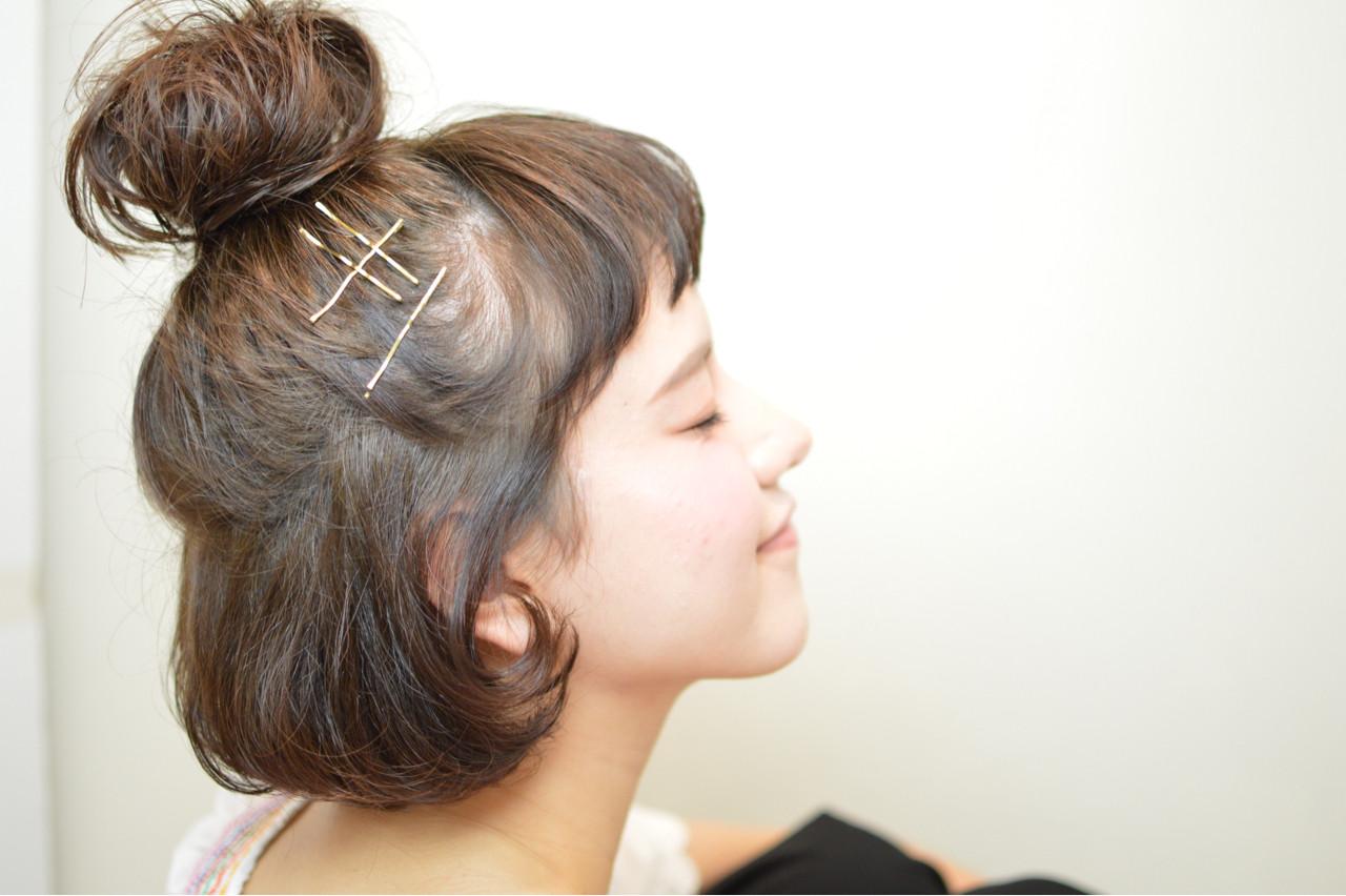 ヘアピン ヘアアレンジ ボブ ハーフアップ ヘアスタイルや髪型の写真・画像