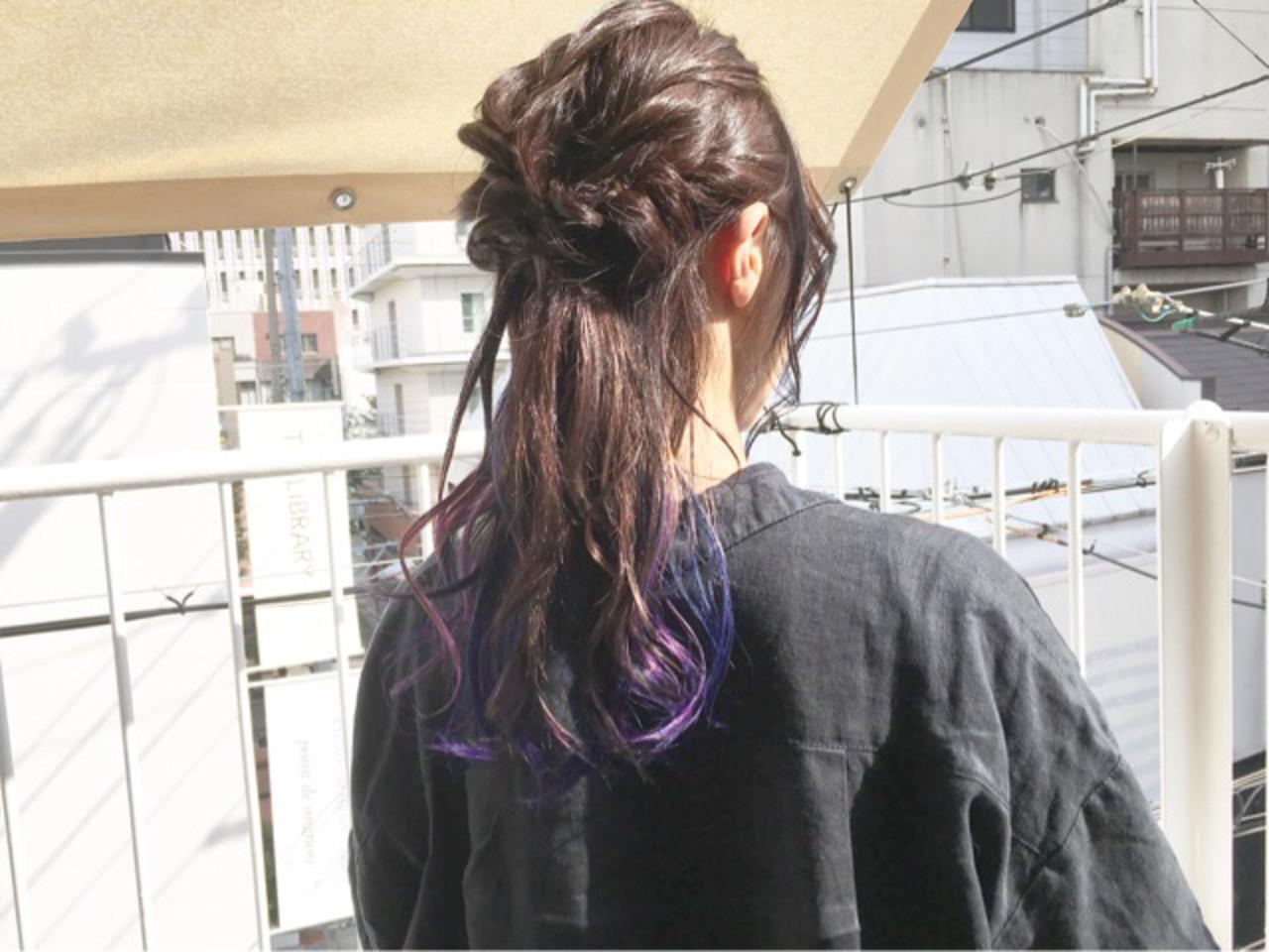 ストリート ミディアム ネイビーブルー ブルーラベンダー ヘアスタイルや髪型の写真・画像