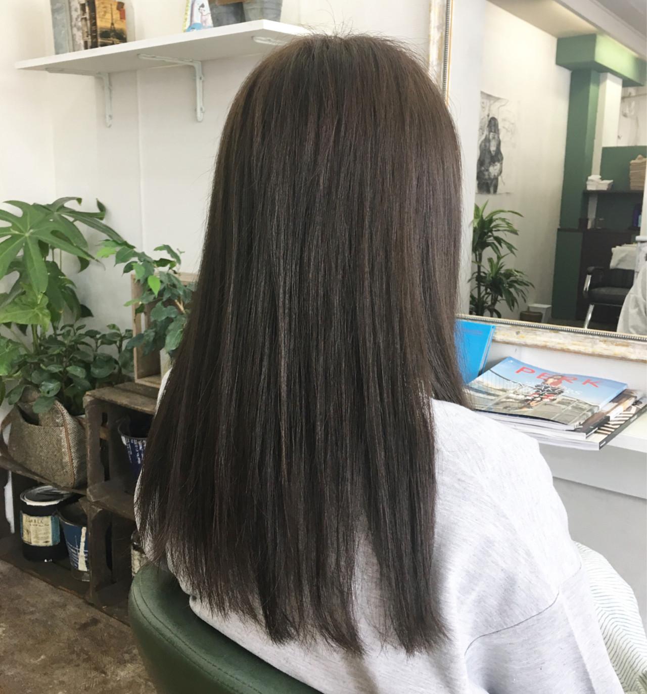 アッシュ ロング 黒髪 透明感 ヘアスタイルや髪型の写真・画像