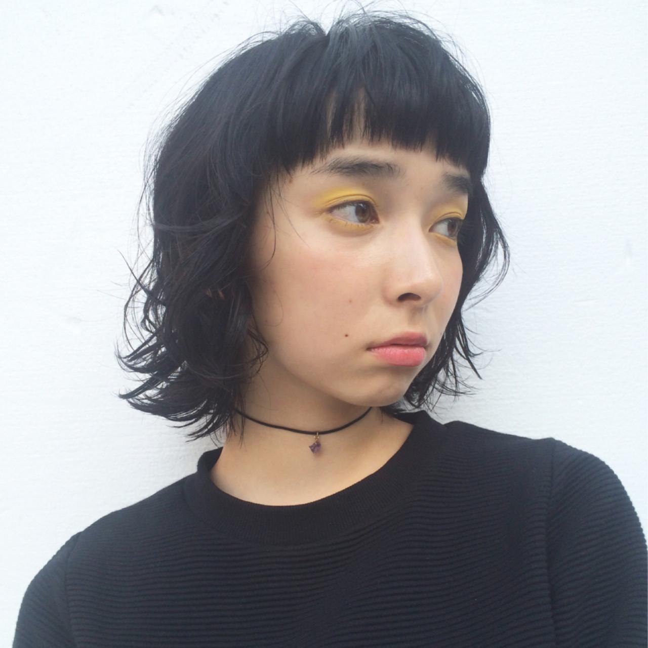 黒髪 ショートバング ウルフカット モード ヘアスタイルや髪型の写真・画像